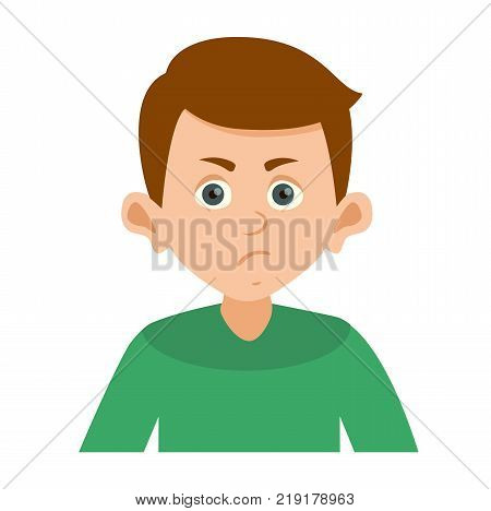 gloomy raging boy looking right vector illustration. Cartoon character angry boy emotion face and angry boy sadness innocence bad mood. Vector illustration on white background