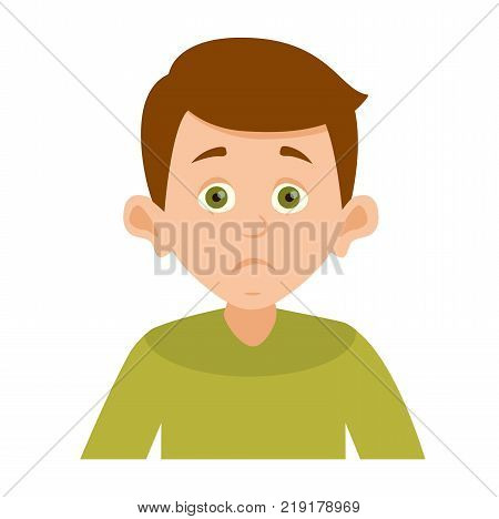 vector avatar cute boy who has a surprised indignant look. portrait of a boy in green clothes with a surprise emotion. Vector illustration isolated on white background