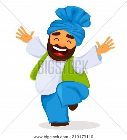 Popular winter Punjabi folk festival Lohri. Funny dancing Sikh man cartoon character. Vector illustration on white background