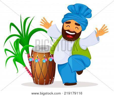 Popular winter Punjabi folk festival Lohri. Drum sugarcane and funny dancing Sikh man cartoon character. Vector illustration on white background