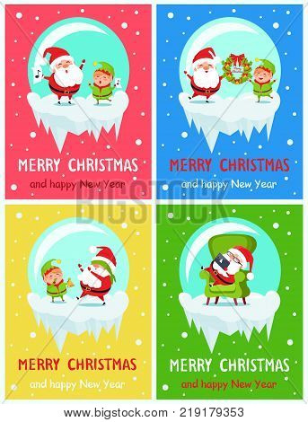 Merry Christmas and Happy New Year banners with Santa and Elf adventures singing carol songs, holding wreath, playing hide-and-seek, rest in armchair