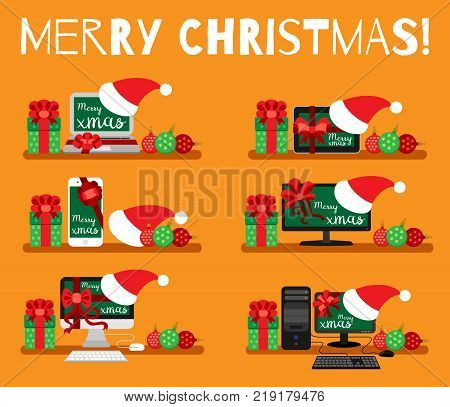 Electronics set for Christmas present on an orange background with the inscription - Merry Christmas.  Laptop, tablet, smart phone, tv, mono-block, pc in flat style. Vector illustration.