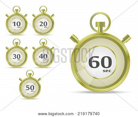 Stopwatch vector illustration. Timer icon. Realistic Timer and Stopwatch