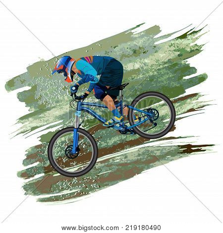 An image of a cyclist descending on a mountain bike on a - vector