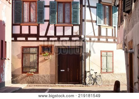 The typical and traditional half-timbered houses of the Alsace region of France
