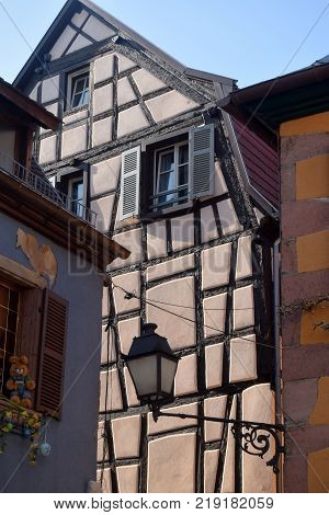 The typical and traditional half-timbered houses of the Alsace region of France.