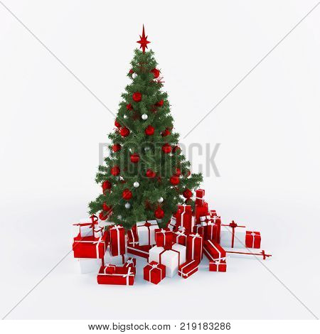 Christmtas tree with gifts isolated on white bacground 3d render
