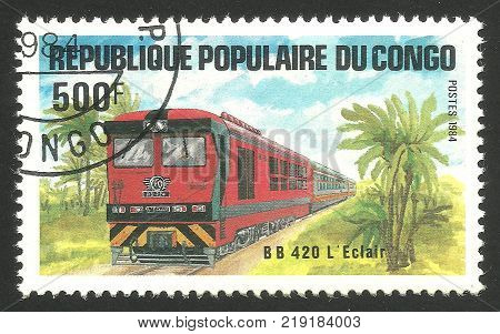 Congo - CIRCA 1984: Stamp printed by Congo Multicolor memorable edition offset printing on the topic of Railway and Trains shows Locomotive BB 420 Eclair