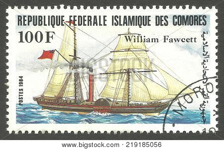 Kiev, Ukraine, December 22, 2017: Stamp printed by Comoros Color memorable Edition offset printing Shows Sailing ship William Fawcett on the water, CIRCA 1984