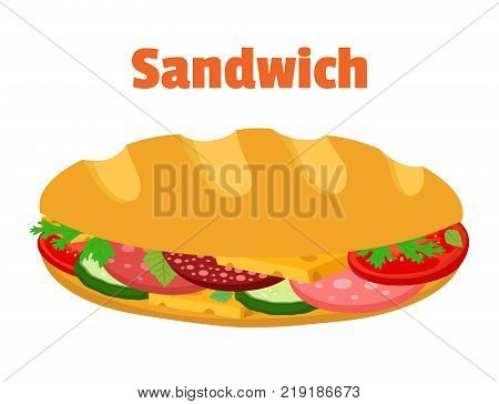 Sandwich, breakfast fast food, bread with ham, cheese, vegetables. Made in cartoon flat style. Vector illustration