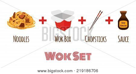 Wok box with chopsticks, japanese, chinese noodles, ramen food, asian noodle. Made in cartoon flat style. Vector illustration