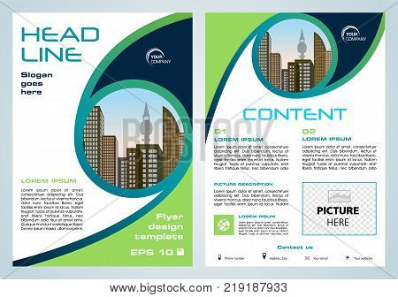 Vector flyer corporate business annual report brochure design and cover presentation with green and blue circle.