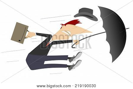 Windy day and man with umbrella isolated. Man tries to hold an umbrella and a bag gone with the strong wind cartoon illustration
