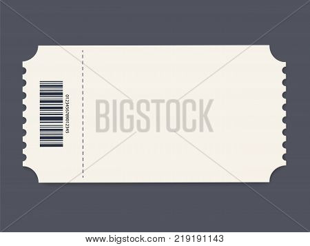 Ticket template. Vector illustration. Event card or Cinema Ticket Element guideline for design. Clean realistic pass mockup