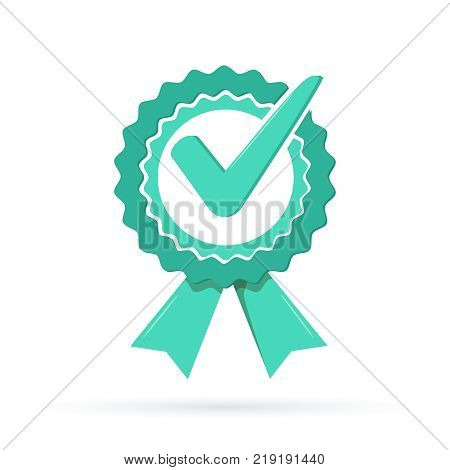 Green approved star sticker vector illustration isolated on white background. Done stamp vector. Flat style design button, badge. Check icon. Quality logo