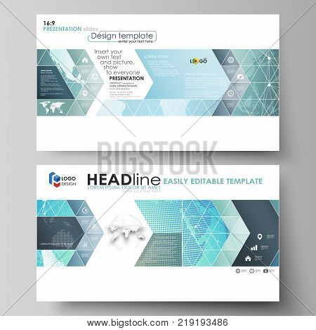 The minimalistic abstract vector illustration of the editable layout of high definition presentation slides design business templates. Chemistry pattern, molecule structure, geometric design background.