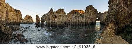 Panoramic view of the beautiful Ponta da Piedade in Lagos Algarve Portugal; Concept for travel in Portugal and Algarve