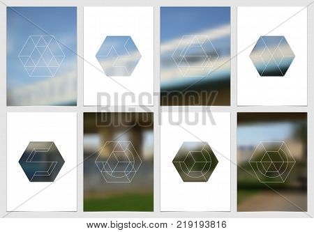 The minimalistic style geometric masks and shapes, editable layouts of A4 format design templates. Hexagonal style decoration for presentation, flyer, report, advertising, brochure etc. Annual report, flyer template with geometric design vector template.