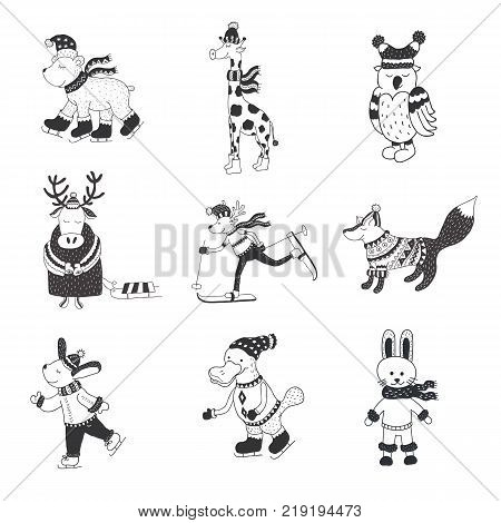 Set of cute animals in the winter . Nursery art. Minimalist scandinavian style. Characters for kids card, print for t-shirt and more.