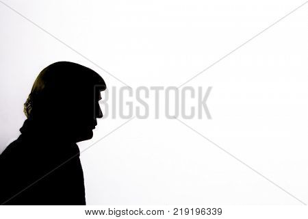 Caricature silhouette of United States President Donald Trump