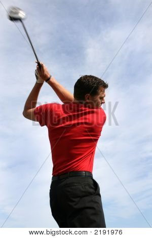 Young Golfer With Driver