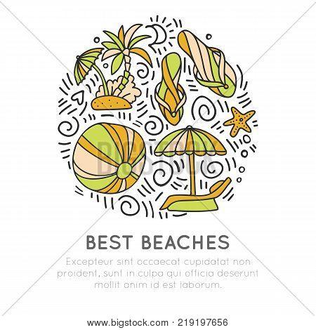Tropical summer beach icon concept. Ball, umbrella, palm, starfish in round form with decoration. Beach summer icon illustration. Good for traveling banner, site and vacation advertising. Vector beach icon isolated on white background