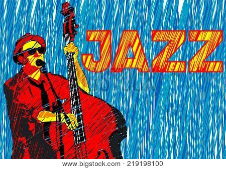 Musician with bass in jazz style on a white background