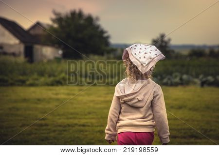 Child girl on rural field looking into the distance on rural landscape in countryside during summer holidays symbolizing happy carefree childhood in countryside