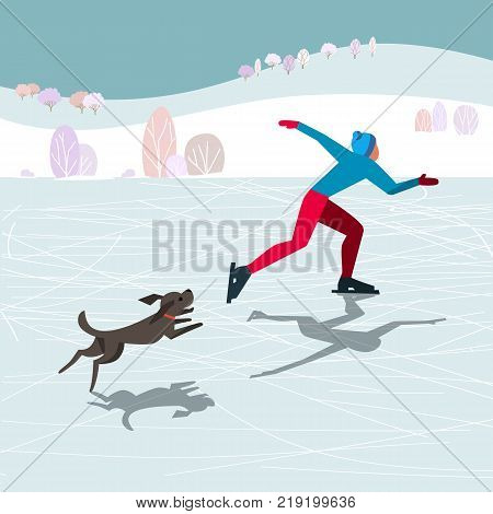 Cute winter sport fun poster. Comic flat cartoon. Minimalism simplicity design. Young skater skating, running home pet dog on river ice. Nature outdoor sports background template. Vector illustration