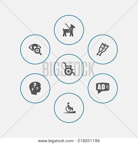 Collection Of Ramp, Lens, Stand Elements.  Set Of 7 Accessibility Icons Set.