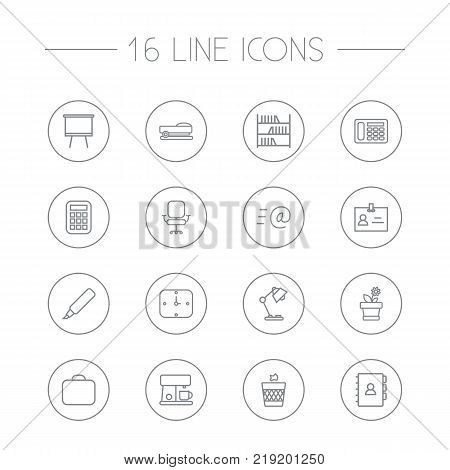 Collection Of Wastebasket, Book, Calculator And Other Elements.  Set Of 16 Office Outline Icons Set.