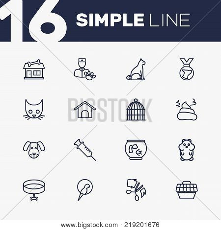 Collection Of Shop, Kennel, Carries And Other Elements.  Set Of 16 Pets Outline Icons Set.