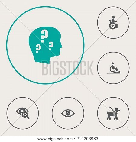 Collection Of Universal Access, Ramp, Lens And Other Elements.  Set Of 6 Accessibility Icons Set.