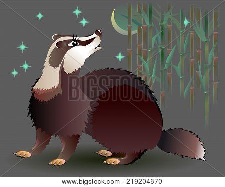 Illustration of badger looking at the moon, vector cartoon image.