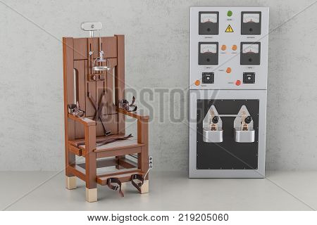 Electric chair with electrical power panel box 3D rendering
