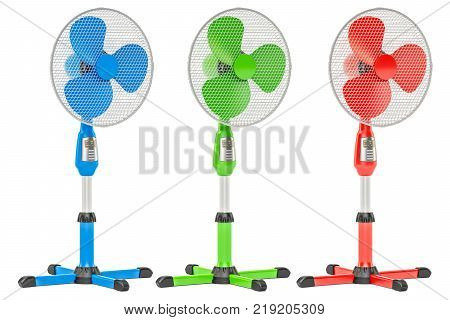 Set of colored standing pedestal electric fans 3D rendering isolated on white background