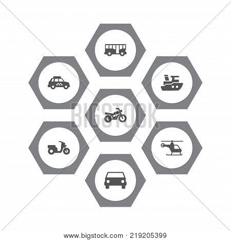 Collection Of Motorbike, Autobus, Copter And Other Elements.  Set Of 7 Traffic Icons Set.