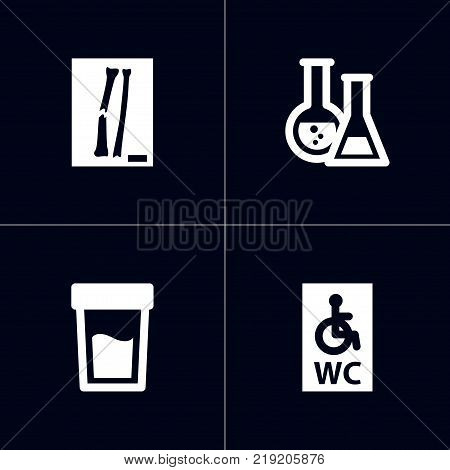 Collection Of Thorax, Urine Tester, Wheelchair Toilet And Other Elements.  Set Of 4 Healthy Icons Set.