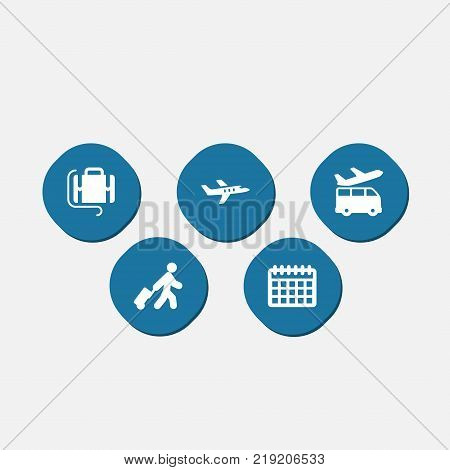 Collection Of Aircraft, Airport Transfer, Pagking And Other Elements.  Set Of 5 Airplane Icons Set.