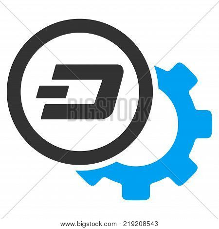 Dash Configuration Gear vector pictogram. Illustration style is a flat iconic bicolor blue and gray symbol on white background.