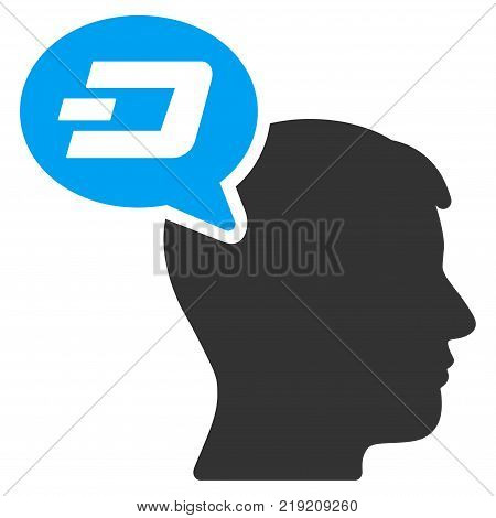 Dash Thinking Balloon vector pictograph. Illustration style is a flat iconic bicolor blue and gray symbol on white background.