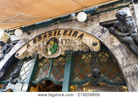 LISBON, PORTUGAL - September 25, 2017: Café A Brasileira famous in the old quarter of Lisbon opened in 1905 and has been the meeting point for intellectuals artists writers and free-thinkers