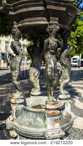 Wallace fountain also called Fountain of the Little Angels or Fonte dos Anjinhos is a public drinking fountain at Rossio Square in Lisbon Portugal