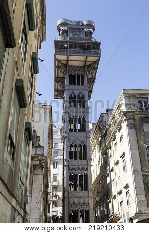 Santa Justa Lift also called Carmo Lift is an elevator opened in 1901 and connecting the streets of Baixa with the higher Carmo Square in Lisbon Portugal