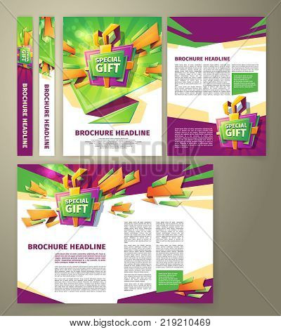 Vector flyer for sales promotion, banner, presentation template, magazine page, in cartoon style with gift box, green and purple elements. Advertising brochure for sales incentive