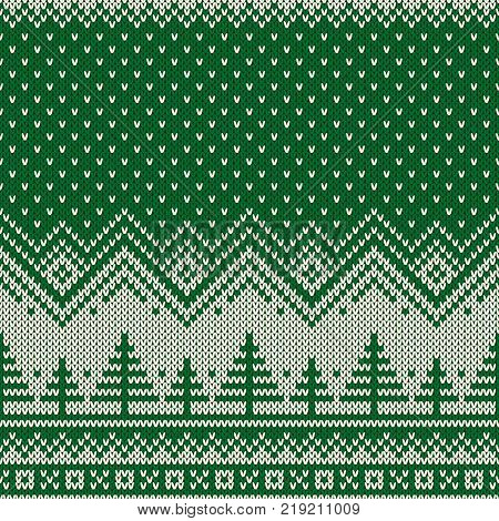Winter Holiday Seamless Knitted Pattern with a Christmas Trees. Knitting Sweater Design. Wool Knit Texture.