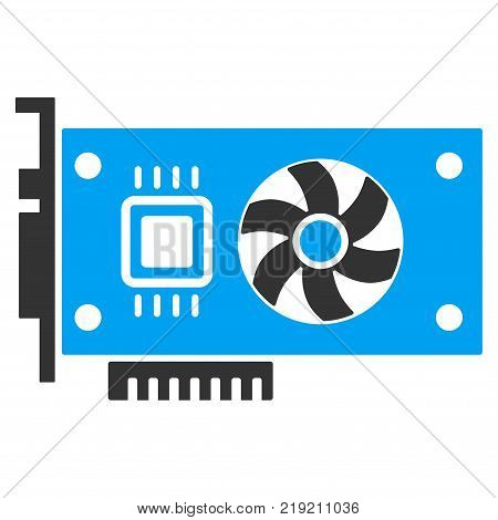 Video Accelerator Card vector pictograph. Illustration style is a flat iconic bicolor blue and gray symbol on white background.