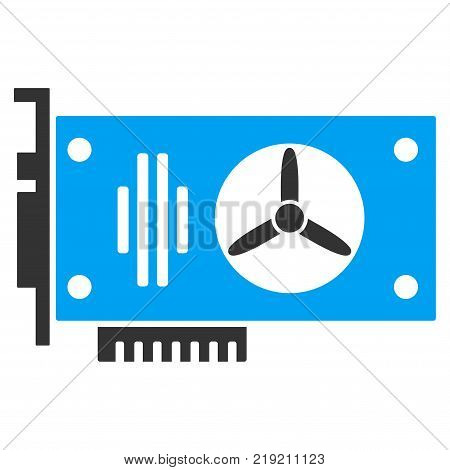 Videocard vector icon. Illustration style is a flat iconic bicolor blue and gray symbol on white background.