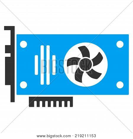 Videocard vector pictogram. Illustration style is a flat iconic bicolor blue and gray symbol on white background.