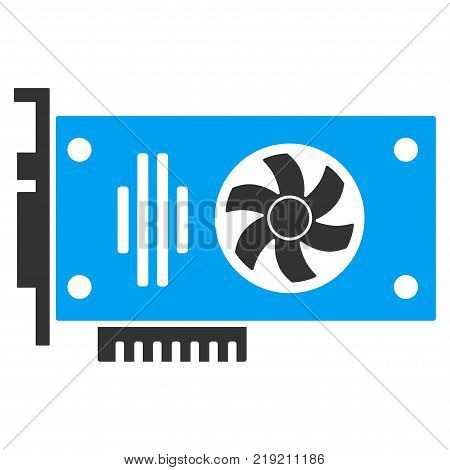 Videocard vector pictograph. Illustration style is a flat iconic bicolor blue and gray symbol on white background.